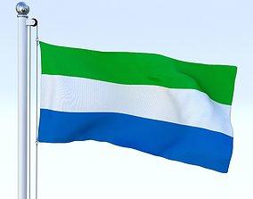 3D asset Animated Sierra Leone Flag