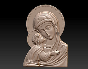 Mary with child 3D print model bas-relief