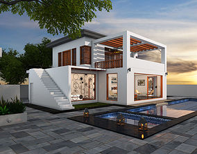 Contemporary House with beautiful Pool 3D model