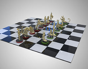 Chess High Detailed Set Brass Characters Double Set 3D