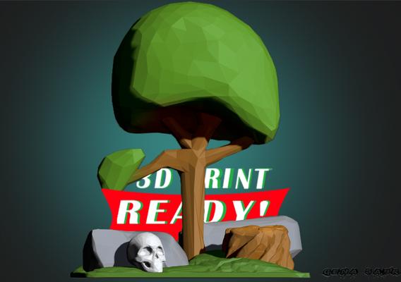 Low poly scene 3D print model