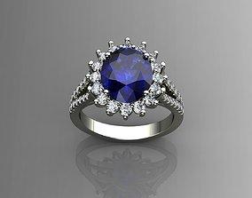 3D print model Diamond and Blue Sapphire Ring