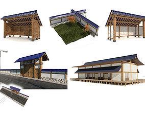 3D model Japanese style buildings multi pack