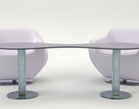 3D asset Lounge chair and coffee table