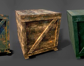 Wooden box low-poly 3d model VR / AR ready
