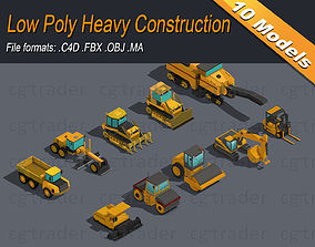 Low Poly Heavy Construction Machinery Equipment 3D model