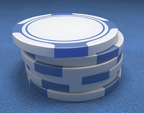 Poker Chips Blue and White 3D