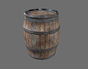 3D model realtime PBR medieval Barrel drum