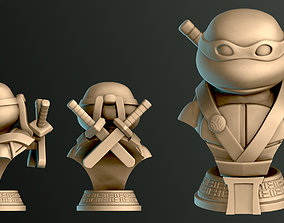 3D printable model Turtle Warrior with Swords - Bust and 4