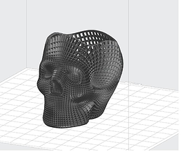 3D printable model wireframe skull pencil holder