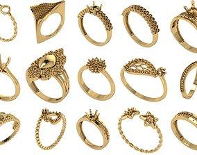 3D printable model diamond rings 25 pieces in 1