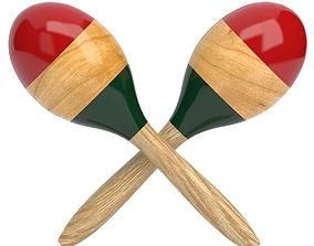 Wooden Maraca 3D