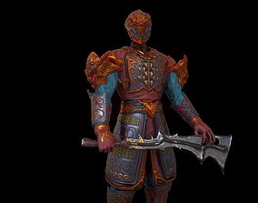 Low poly fantasy elite warrior character 3D asset