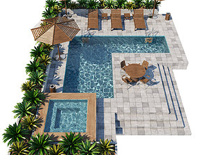 chair Swimming pool 3D