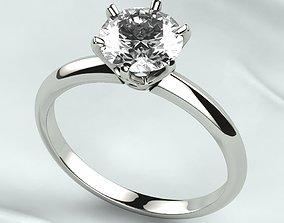 7mm Gemstone Tiffanys Style Gold Ring 3D print model