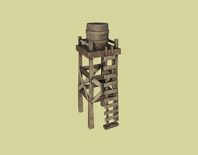 Western Water Tower Wooden - Old West - 3D model 2