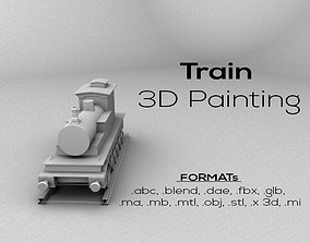 3D asset Train Engine Lowpoly