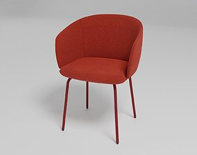GRACE - Upholstered fabric chair with armrests - 3D model
