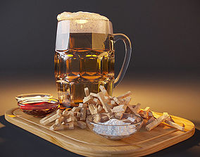 3D model Beer with crackers and sauces