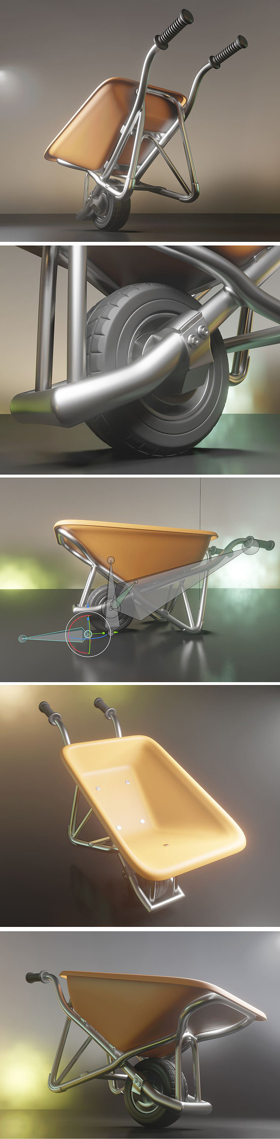Wheelbarrow 1 Rigged Version High-Poly (Blender-2.90.1 Eevee)