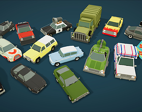 3D model Cartoon Vehicles Pack 2 Low Poly Cars 20 Cars