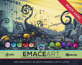 High Poly Magic Forest In the Plasticine World 3D model 1