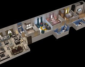 rigged appartment 3d floor plan house