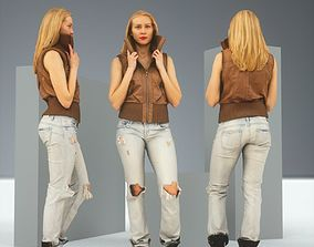 3D asset Blonde Attitude Leather Jacket and Jeans