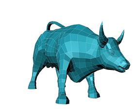 low poly bull model 3D asset