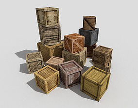 big wooden boxes collection 3D model