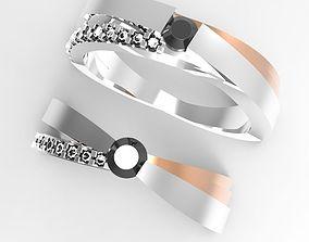 X shape motive engagement ring 3D printable model