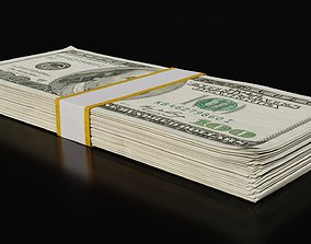 Money Stack - 100 Dollars - Coins -High Quality 3D model