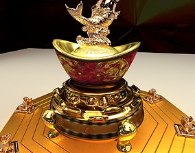Chinese yuanbao with fish 3D model