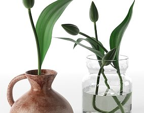 3D Tulips in Vases and Incense Sticks