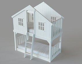 Treehouse Loft Bed White 3D model