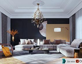 3D model Yellow-Reception Dining scene -corona renderer