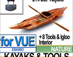3D model Eskimo Kayaks and Igloo Tools Package