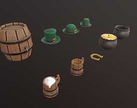 low poly St Patrick pack 3D asset