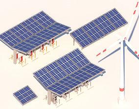 Cartoon Solar Panel Wind Turbine Electric 3D asset 1