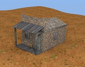3D model Brick western house