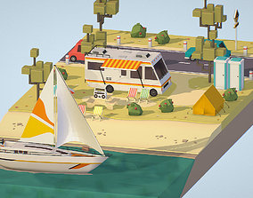 isometric camping scene on the river 3D asset