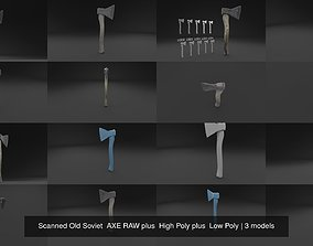 Scanned Old Soviet AXE RAW plus High Poly plus 3D model 1