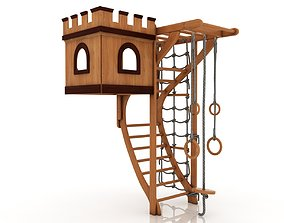 childrens wooden play complex with a tower 3D model