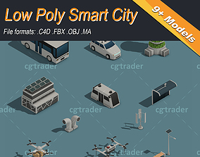 3D asset game-ready Low Poly Smart City Isometric Icon