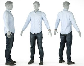 Male Casual Outfit 15 Shirt Pants Shoes 3D model