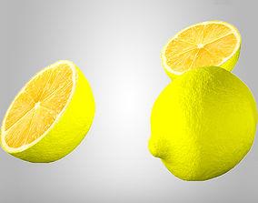 3D model lemon with slices