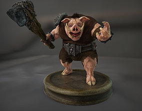Boar Creature 3D model rigged