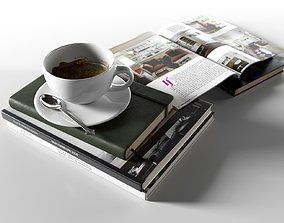3D model Books with Coffee Cup