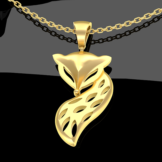 FOX pendant jewelry Gold 3D print model