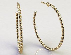 Cable Hoop Earrings 40 mm 3D printable model